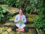 Steph Enchanted Mountain seated prayer pose color
